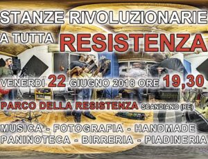 STANZE RIVOLUZIONARIE per una sera in esposizione al Parco della Resistenza a Scandiano – venerdi 22 giugno